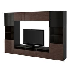 BESTÅ TV storage combination/glass doors - black-brown/Selsviken high gloss/brown smoked glass, drawer runner, soft-closing - IKEA