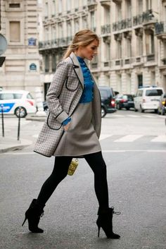 Recreate-grey pants/skirt, Ralph Lauren jersey and black shoes and grey coat