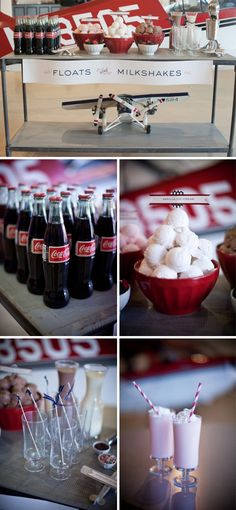 A dessert drinks bar featuring coke floats and milkshakes. Retro, vintage Coca-Cola wedding inspiration.