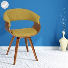 ARMEN LIVING Summer Modern Chair In Green Fabric and Walnut Wood - Improve your home (*Amazon Partner-Link)