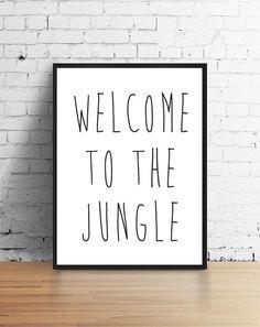 Print  Bienvenue dans la Jungle  de la salle de par LovelyPosters