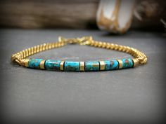 Bracelet for Men, Turquoise Bracelet. Mens brass chain bracelet beaded with turquoise tube beads.... classy with a touch of rustic,  by StoneWearDesigns
