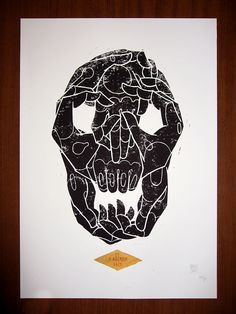 Handskull (Why are you so far from your flock, shepherd?)    Linocut print featuring a handmade text