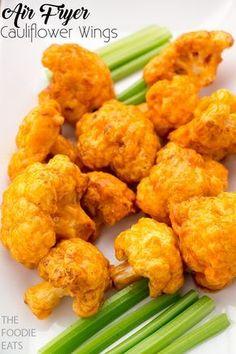 Air Fryer Cauliflower Wings | Vegan | Gluten Free | Tailgate Food | Super Bowl Treats | The Foodie Eats via @thefoodieeats