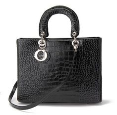 Large Lady Dior bag in black crocodile embossed leather