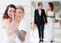 Mid-Century modern elopement inspiration with lesbian brides #gay #gaywedding #lesbian wedding