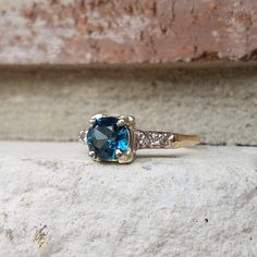 Vintage London Blue Topaz and Diamond Engagement Ring in Yellow and White Gold |Alternative Engagement Ring by CypressCreekVintage on Etsy https://www.etsy.com/listing/508474974/vintage-london-blue-topaz-and-diamond
