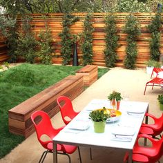 Outdoors: Modern Fencing + Red Chairs