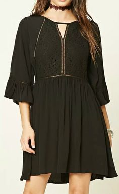 Unique asymmetric hem. This floral lace dress is featuring solid color, round neck, 3/4 sleeve. Two color can be chosen.