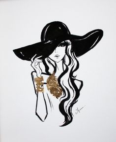 Fashion Illustration, Black Hat with Gold Leaf