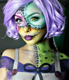 Rag/Patchwork Doll Halloween Makeup face paint Sally Nightmare before Christmas costume makeup Amazing Halloween Makeup, Halloween Look, Halloween Face Makeup, Zombie Face Paint, Cosplay Makeup, Costume Makeup, Art Visage, Fantasy Make Up, Fantasias Halloween