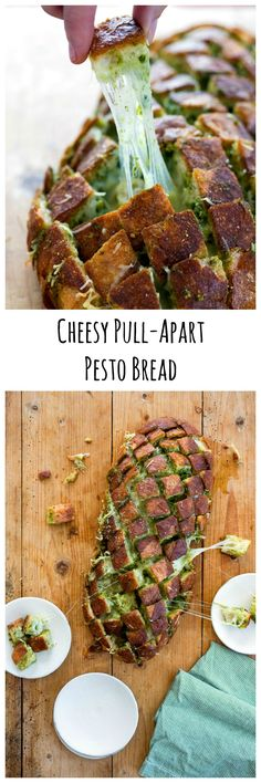 People will go crazy for this Cheesy Pull-Apart Pesto Bread that's like garlic knots gone wild. Cross cutting the bread makes the loaf easy to pull apart. Only 4 ingredients! | ShockinglyDelicious.com