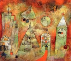 Fateful Hour at Quarter to Twelve - Paul Klee - 1922 Landscape lesson fr kids using watercolor, and lifting watercolor to add buildings.
