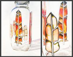 Bottiglia di vetro amichevole di eco, arte funzionale piuma per bere, vaso di fiori o lanterna, bohemien zingara hippy tribale nativo bali piume