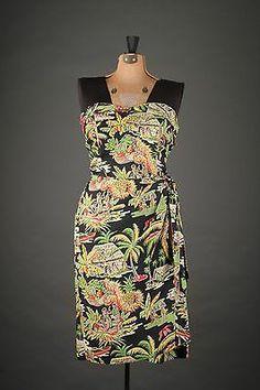 Lovely 50s Strapless VTG Surfriders HAWAIIAN Slim Wiggle Dress
