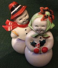 Vintage Mr Mrs Snowman Snowmen Christmas Salt & Pepper Shakers Shafford Japan
