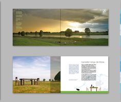"Niekfabriek spread design for the book ""Onder de Maas"". top photo: Rob de Wind. photo below: Jan Soetebroek. illustration niekfabriek"