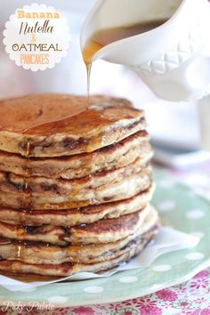 Banana Nutella and Oatmeal Pancakes
