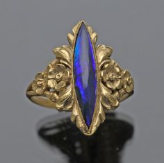 GEORGES LE TURCQ b. 1859 Attrib.  Belle Epoque Ring - Gold Black Opal - French. Gorgeous.