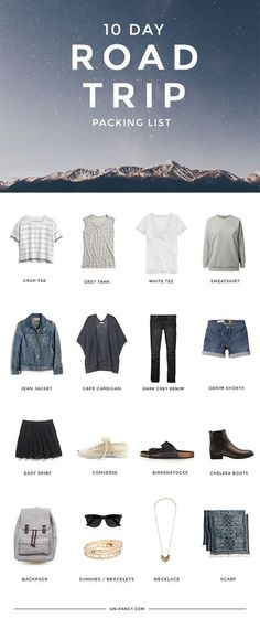what to pack for a 10 day road trip