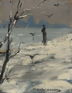 An elegant woman, said to be Sarah Bernhardt, on a winter's walk, Louise Abbéma. French (1858 - 1927) - Oil on Canvas -