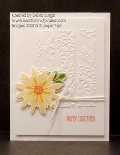 Stampin' Up! Lovely lace embssing folder, Flower Patch, Flower Fair framelits, photopolymer, Debra Burgin Happy Together