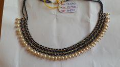 Jagadamba Jewellers. Ram nagar. Hyderabad. Contact : 098662 73727. Latest Necklace Design, Pearl Necklace Designs, Gold Earrings Designs, Gold Necklace, Bead Jewellery, Temple Jewellery, Beaded Jewelry, Gold Mangalsutra Designs, Gold Jewelry Simple