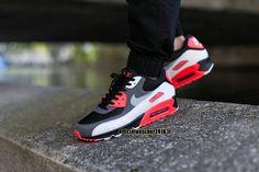 info for 94d8f b74ee Officiel Nike Air Max 90 SJX Chaussures Nike Sportswear Pas Cher Pour Femme  Noir - gris foncé - Rouge - Blanc