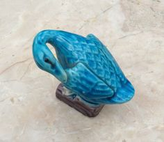 Vintage Chinese porcelain  turquoise blue duck figurine by LADYG99 on Etsy