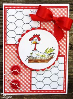 handmade Easter card from Creative Crafts by Lynn ... red and white predonimate ... chicken on a nest perfect red bow ... buttons with kraft knots ... papels of chichen wire print ... luv it!