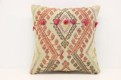 Handwoven Kilim Pillow Cover 14 x 14 Oriental by ANATOLIANRUGS