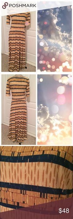 BNWT LuLaRoe Ana Brand New With Tags This dress has such a unique pattern - it looks like a woven basket.  The color is a yellowish beige with darker tan over top and dark blue stripes.   ✔️Bundle and save ✔️Reasonable offers welcomed ❤ ✔️Dog friendly home 🐶 ✔️Mail quickly 📫 ❌No trades 👎🏼 ❌No modeling 🙈 ❌Cat free home 🐱 ❌Smoke free home 🚭 LuLaRoe Dresses
