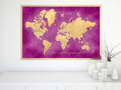 "Anniversary sale! Printable hot pink and gold world map with cities, 36x24"", the world is your oyster. Instant digital download: World map printable art in faux gold foil effect and teal watercolor, with capitals and main cities.  This map can be printed and glued to a foam core board and it makes a great travel pinboard. Please zoom in the images to see them better :)"