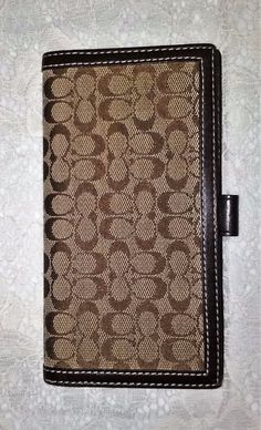 Coach Checkbook Cover Small C Chocolate Brown Signature Jacquard Wallet #Coach…