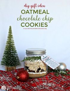 Oatmeal Cookie Mix in a Jar Recipe | Homemade Gifts in a Jar | Layered Cookie mix in a jar for holiday gifts. Free printable tag with baking instructions. Grab it on todaysCreativelife.com Chocolate Chip Cookies Ingredients, Oatmeal Chocolate Chip Cookies, Cookie Mix In A Jar Recipe, Cookie Recipes, Mason Jar Gifts, Mason Jars, Meals In A Jar, Edible Gifts, Homemade Gifts