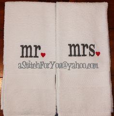 his hers mr & mrs - with Hearts Design perfect for Valenine or Wedding Gift - INSTANT Download Machine Embroidery Design by Carrie on Etsy, $3.75