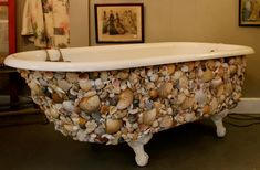 Antique Shell Encrusted Mermaid Claw Foot Bath Tub. $690.00, via Etsy.