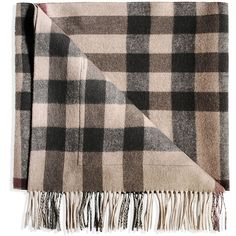Burberry London Oblong Scarf ($760) ❤ liked on Polyvore featuring accessories, scarves, beige, burberry scarves, long shawl, oblong scarves, tartan plaid scarves and tartan plaid shawl