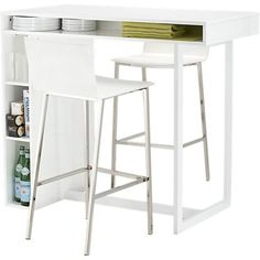 Sort of a kitchen island desk hybrid, this Public White High Dining Table ($399) is ideal for someone looking for a slimmer option with light storage.