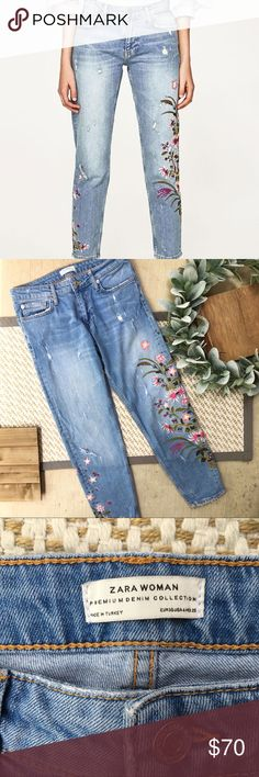 0f6321d8 Zara Light Wash Distressed Embroidered Jeans Zara Light Wash Distressed  Embroidered Jeans. In excellent condition