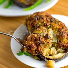 Stuffed Eggplant (This has a seafood stuffing, but looks versatile and can leave it out and just do a vegetarian filling)