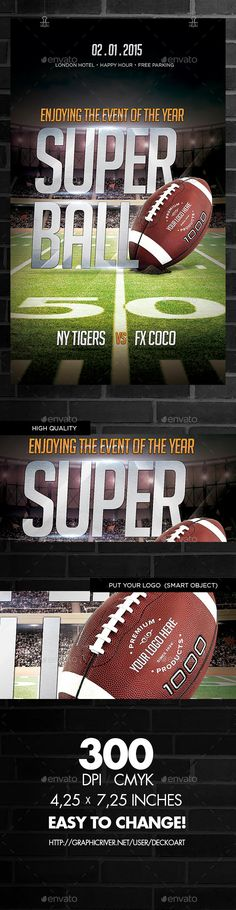 Football Madness Flyer template, Template and Event flyers