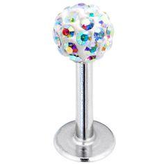 16 Gauge Aurora Ferido Ball Labret Monroe Tragus MADE WITH SWAROVSKI ELEMENTS | Body Candy Body Jewelry