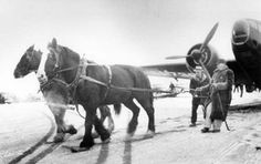 1940/02, Joe Wilson uses horses to pull airplanes into Canada near Pembina, N.D.  SHSND# 00709-50  Joe Wilson is at the reigns of a team of horses pulling a Hudson airplane across the United States-Canadian border during the early days of World War II.