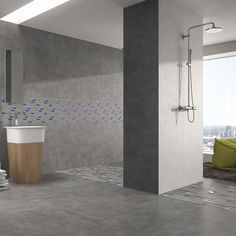Opt for that upscale industrial style with these versatile cement tiles. The medium sized Cemento grey porcelain floor tiles can also be used on walls, for an on trend, minimalist, clutter free design in bathrooms and kitchens. These high quality porcelain tiles with an R9 anti slip finish, offer a hard wearing stylish option for contemporary homes.