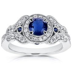 Shop for Annello by Kobelli White Gold TDW Diamond and Sapphire Accent Antique Milgrain Ring. Get free delivery On EVERYTHING* Overstock - Your Online Jewelry Destination! Get in rewards with Club O! The Sapphires, Ring 1 Karat, Sapphire Diamond Engagement, Blue Topaz Necklace, Thing 1, Ring Verlobung, Vintage Engagement Rings, White Gold, Gemstones