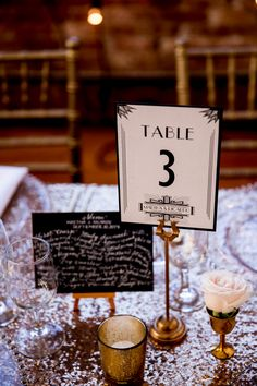 Art Deco table number - photo by Victoria Sprung Photography http://ruffledblog.com/glam-chicago-wedding-with-art-deco-details #weddingideas #tablenumbers