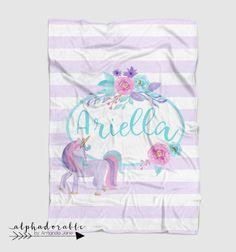 lavender turquoise unicorn custom personalized baby blanket #babyblanket #unicorn