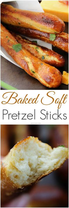 "Baked Soft Pretzel Sticks - ""Soft, tender, buttery and brushed with a garlic and herb butter... these soft pretzel sticks from scratch taste amazingly good!"" http://TheChunkyChef.com"