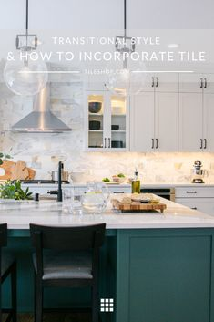 Maybe you love your traditional home but desire a bit of contemporary flair with your home decor. Kitchen Design, Transitional Style, Clean Kitchen Design, Contemporary Light Fixtures, The Tile Shop, Transitional Kitchen, Transitional House, Traditional Tile, Shaker Style Cabinetry